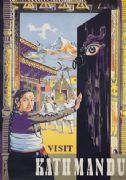 Vintage travel poster, Kath Mandu Nepal, South Asia